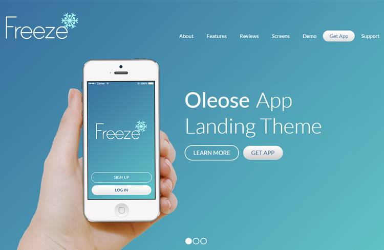 Oleose Eye Catching Mobile Landing Page Home Templates
